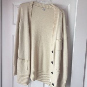 White Knit Grandpa Sweater